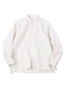 Linen After Dye 908 Small Collar Ocean Shirt in Ice