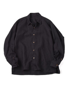Linen After Dye 908 Small Collar Ocean Shirt in Black