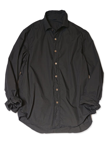 Damp Cotton Long Sleeve Shirt in Black