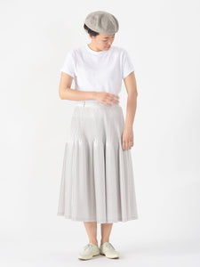 Damp Cotton Pleats Skirt in white