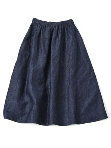 Indigo Cotton Linen Chambray Gather Skirt in indigo