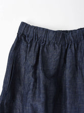 Indigo Cotton Linen Chambray Gather Skirt