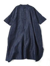 Indigo Cotton Linen Chambray Big Shirt Dress in indigo