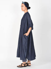 Indigo Cotton Linen Chambray Big Shirt Dress