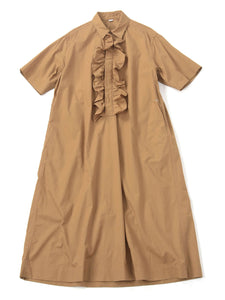 Damp Cotton Ocean Frill Dress in camel