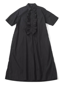Damp Cotton Ocean Frill Dress in black
