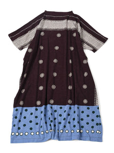 Jersey Dot Print Dress in dark red