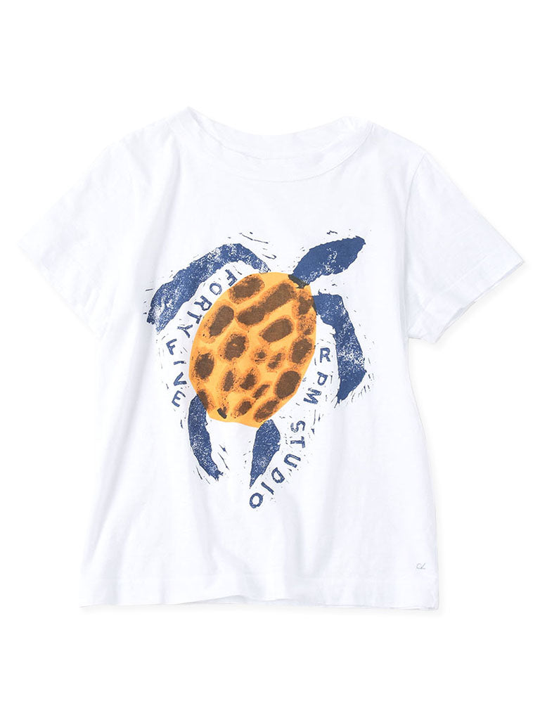 Ocean Story Zimba Cotton Print Short Sleeve T-shirt (Turtle) in white