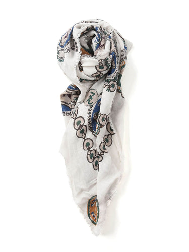 Supima Organic Medal Print Stole in white