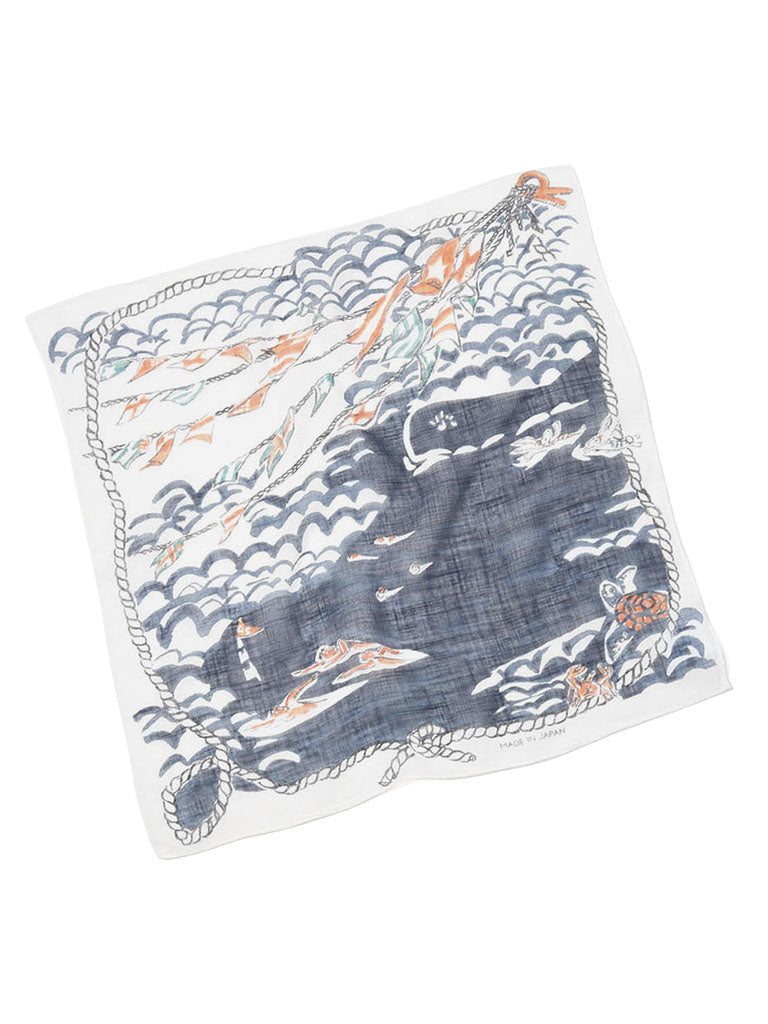 Cotton Gauze Vacance Book Bandana in  white swim