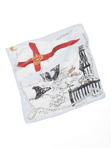 Cotton Gauze Vacance Book Bandana in white flag