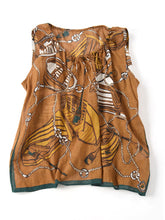 Middle Gauze Cotton Furoshiki Blouse in brown
