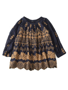 Indigo Doama Cotton Plain Weave Embroidery Blouse in indigo x brown
