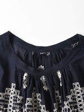 Indigo Doama Cotton Plain Weave Embroidery Blouse