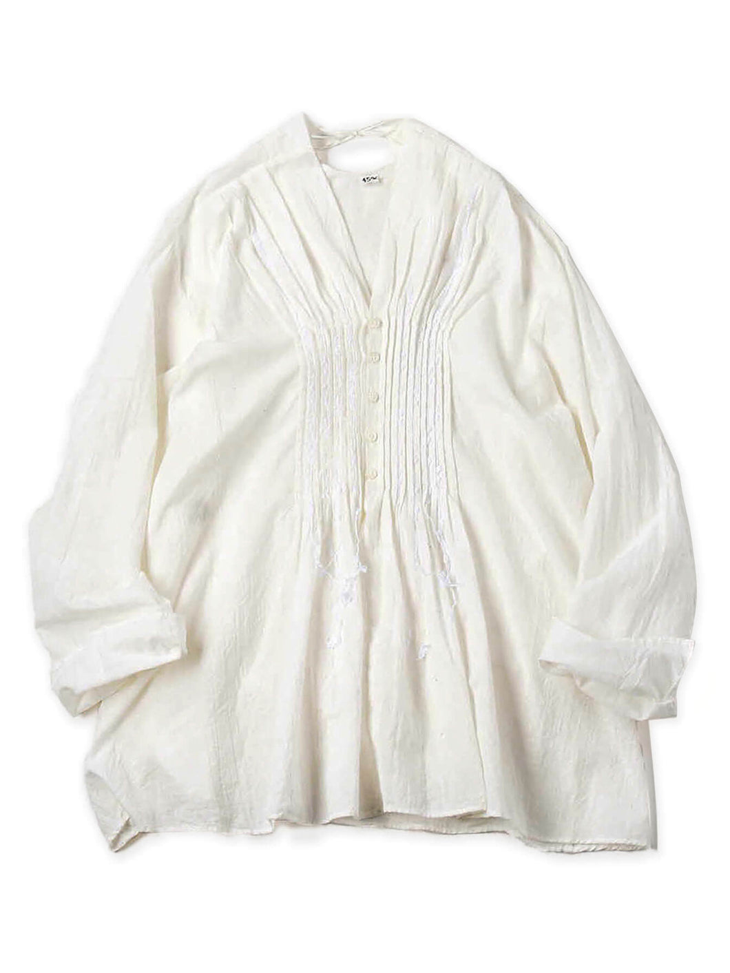 Khadi Cotton Pintuck Blouse in white