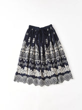 Indigo Doama Cotton Plain Weave Embroidery Skirt in Indigo x Ice Grey