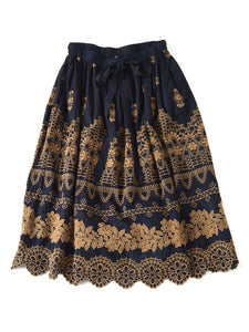 Indigo Doama Cotton Plain Weave Embroidery Skirt in indigo