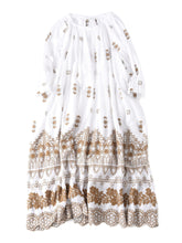 Doama Cotton Plain Weave Embroidery Dress in white x brown