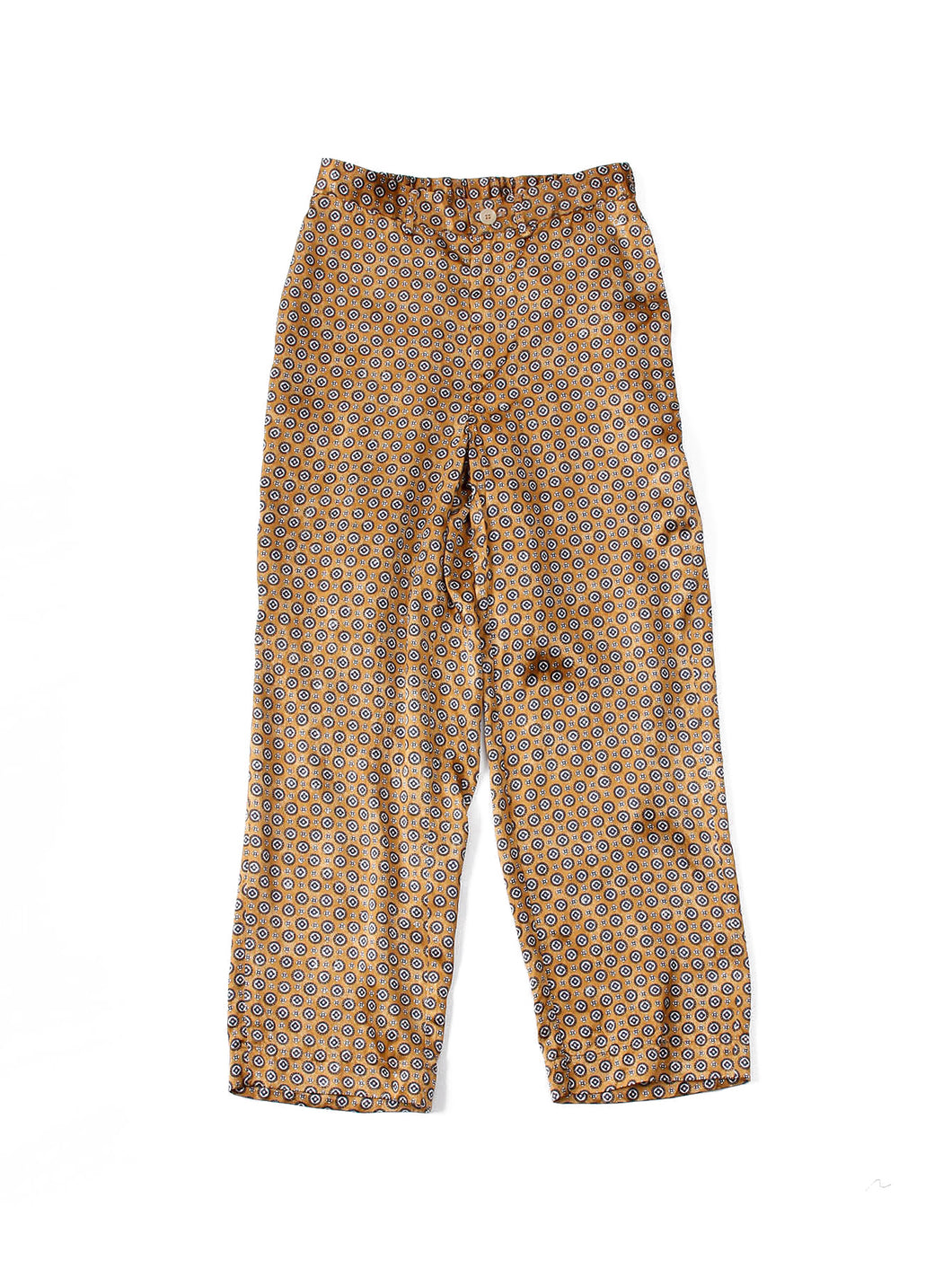Rayon Satin Komon Print Easy Pants in Beige