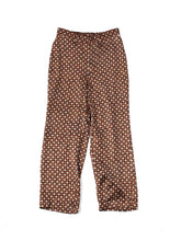 Rayon Satin Komon Print Easy Pants in Brown