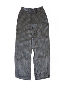 Rayon Satin Komon Print Easy Pants in Grey