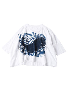 Ocean Story Zimba Cotton Whale Print Big T-Shirt in white