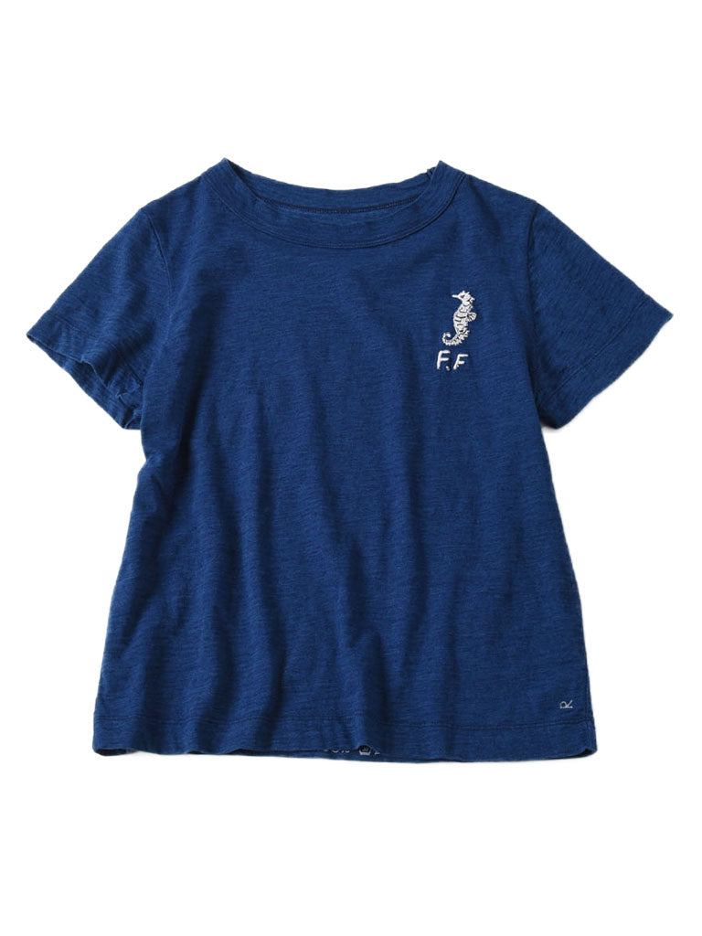Indigo Ocean Story Zimba Cotton Embroidery Short Sleeve T-shirt (Seahorse) in indigo