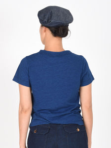 Indigo Ocean Story Zimba Cotton Embroidery Short Sleeve T-shirt (Seahorse)