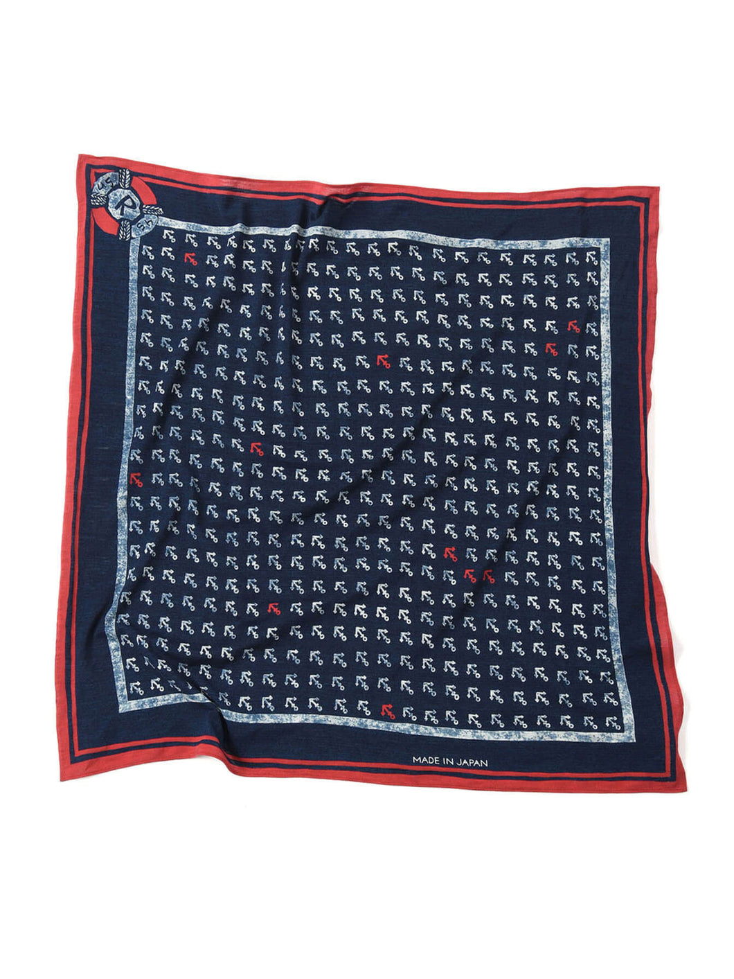 Indigo Cotton Tenjiku Anchor Komon Bandana in indigo