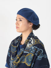 Indigo Cotton Knit Beret Hat