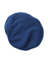 Indigo Cotton Knit Beret Hat in indigo