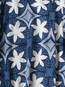 Indigo African Flower Dress