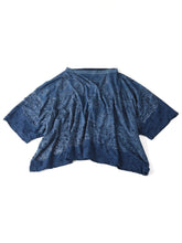 Indigo Paisley Dot Print Cotton Big T-Shirt in indigo