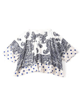 Paisley Dot Print Cotton Big T-Shirt in white