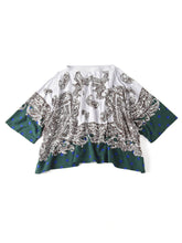 Paisley Dot Print Cotton Big T-Shirt in green