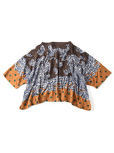 Paisley Dot Print Cotton Big T-Shirt in brown