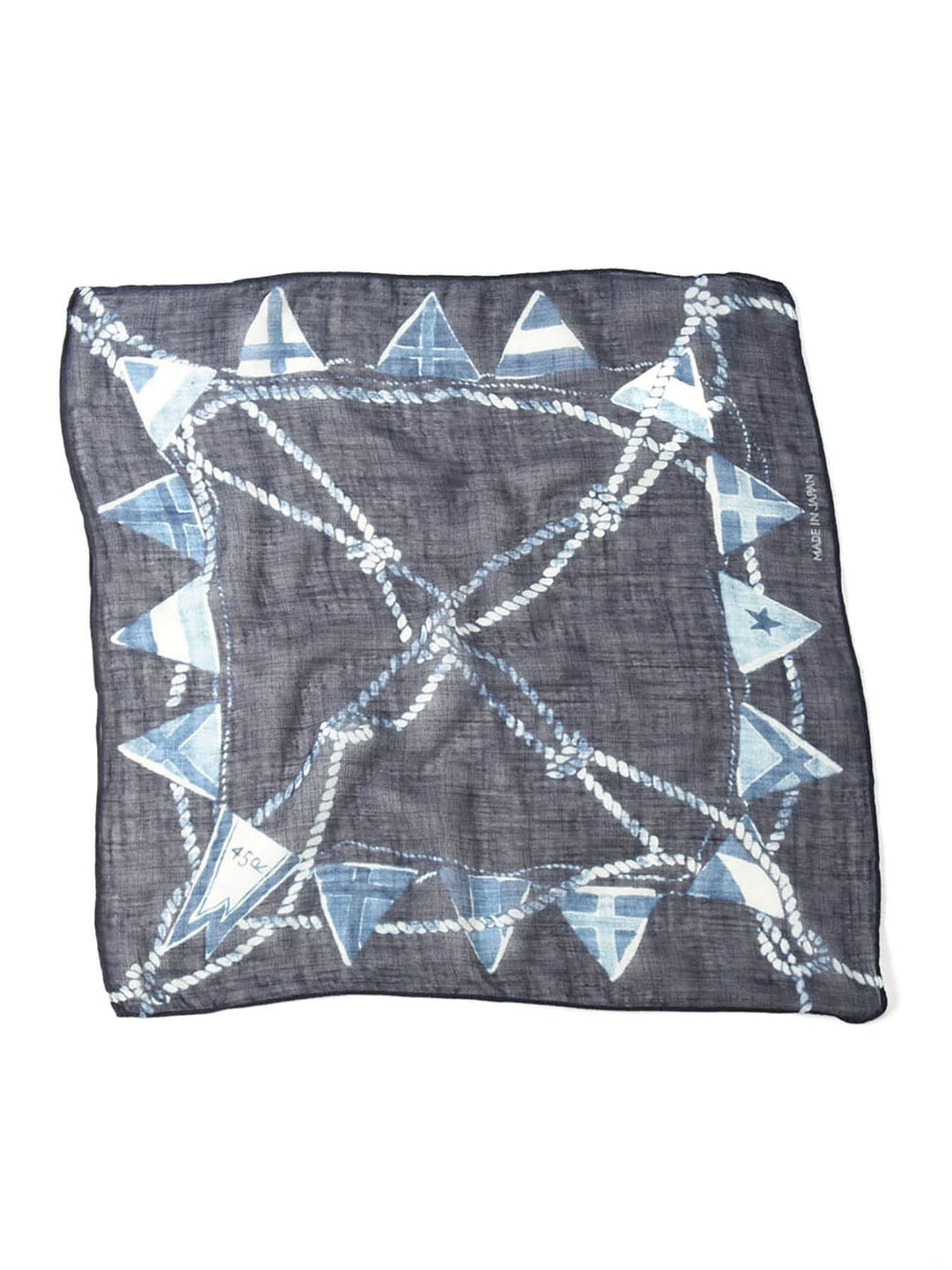 Indigo Gauze Cotton Rope Print Bandana in indigo