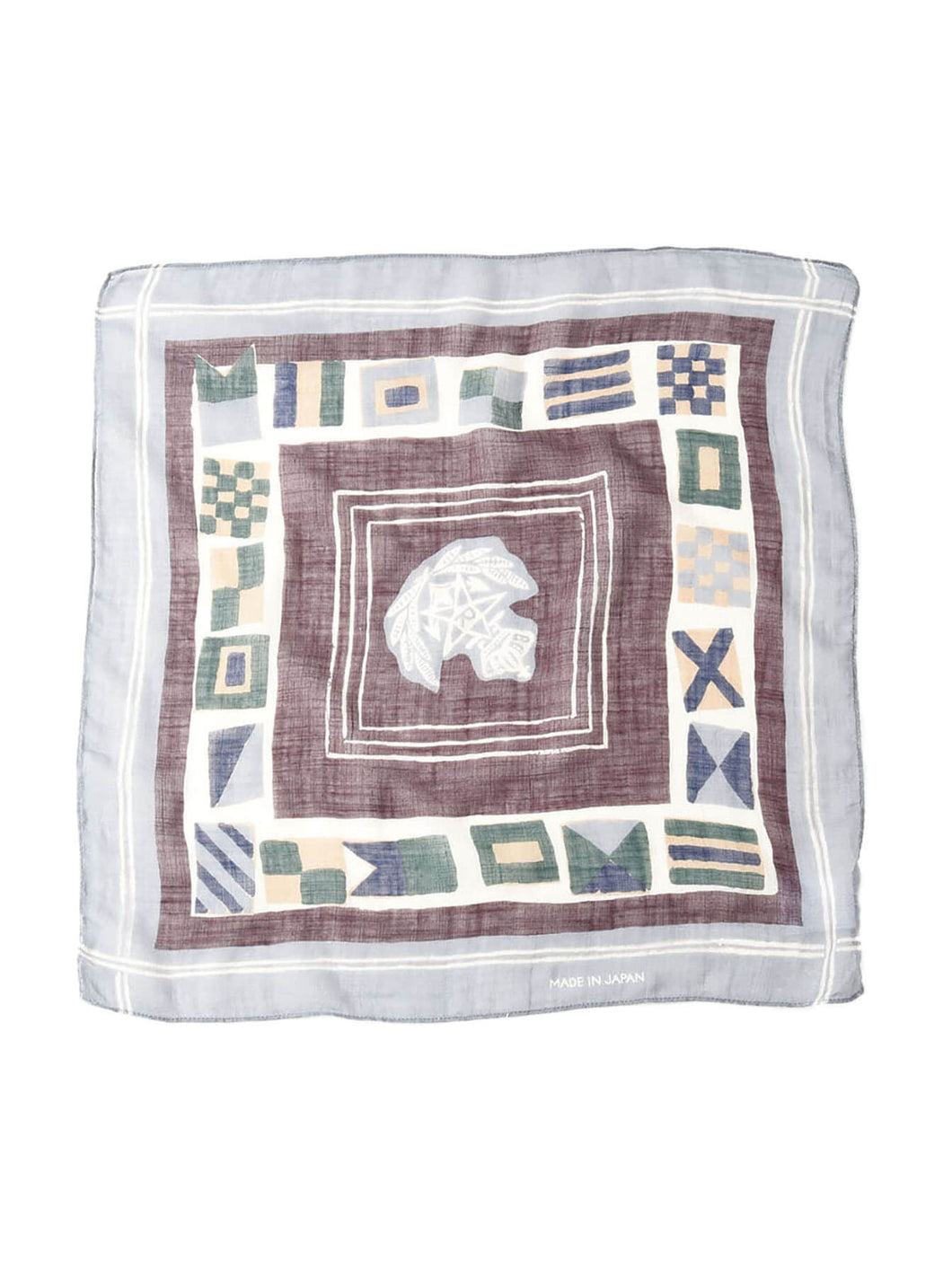 Gauze Cotton Flag Print Bandana in grey