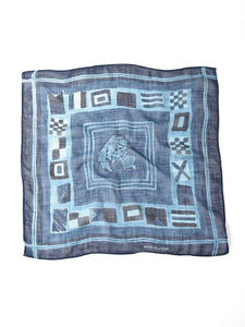 Indigo Gauze Cotton Flag Print Bandana in indigo