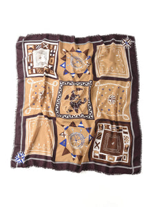 Supima Organic Cotton Flag Print Stole in brown
