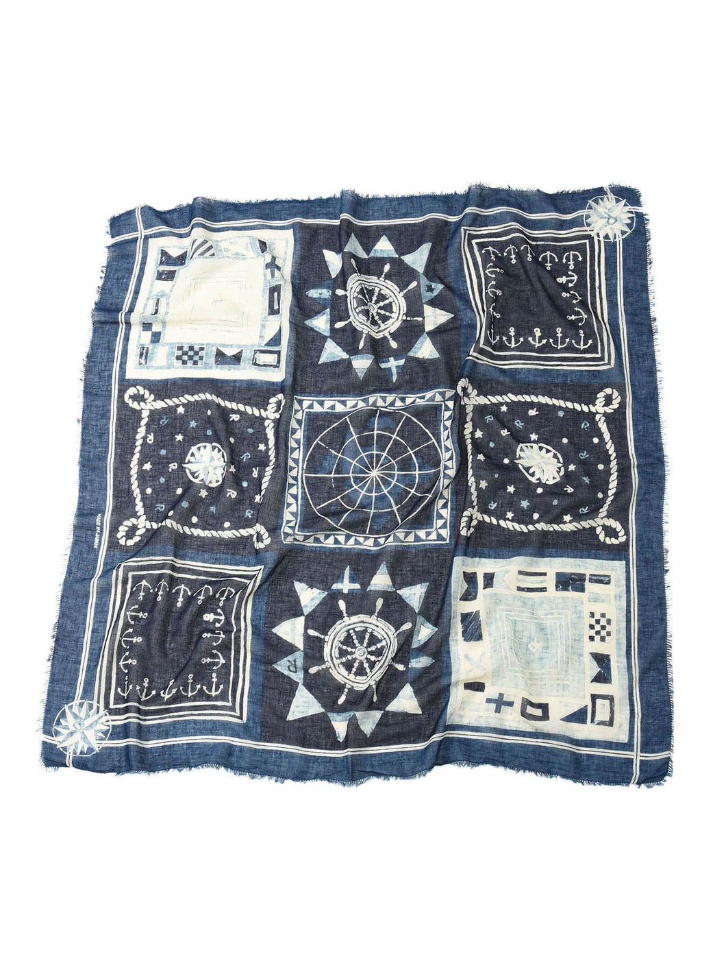 Indigo Supima Organic Cotton Flag Print Stole in indigo