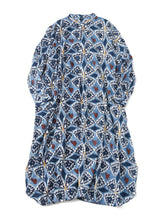 Khadi Cotton Block Print Dress in blue