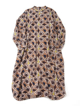 Khadi Cotton Block Print Dress in brown