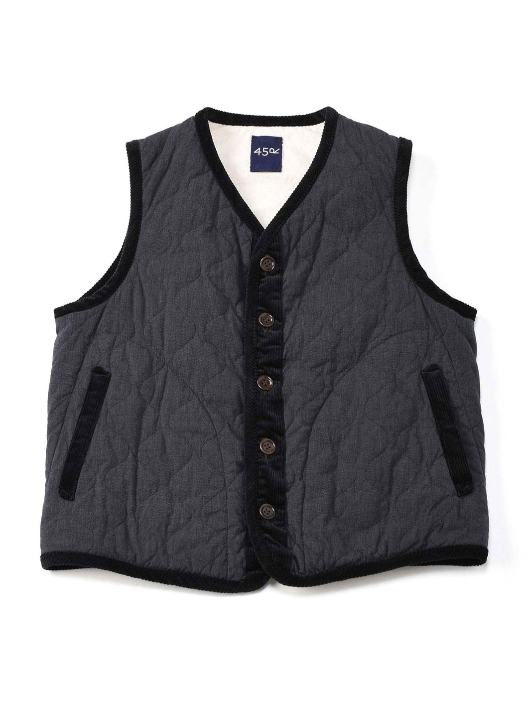 Yorimoku Hira Cotton Quilt 908 Vest in charcoal