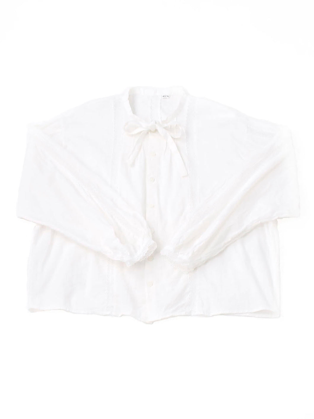 Khadi Cotton Lace Ribbon Blouse in white