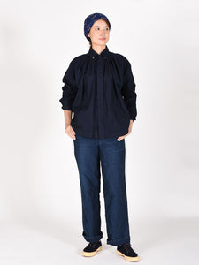 Indigo Zimba Oxford Cotton Tuck Shirt