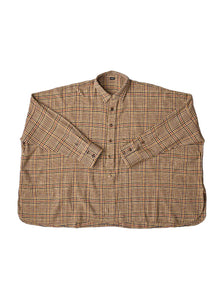 Indian Cotton Thin Flannel Big Shirt in beige glen