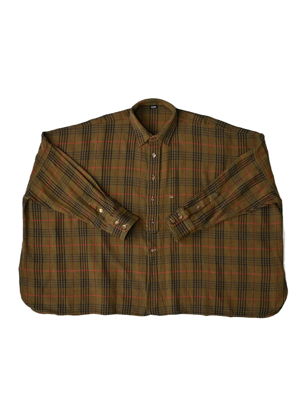 Indian Cotton Thin Flannel Big Shirt in khaki glen