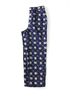 Cupra Satin Flower Print Straw Pants in Navy