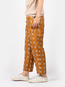 Women's Cupra Satin Flower Print Straw Pants